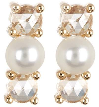 Ef Collection 14K Yellow Gold 3.5mm Pearl & Diamond Stud Earrings