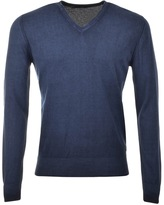 Replay Knitted V Neck Jumper Blue