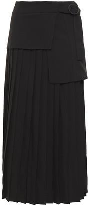 Victoria Victoria Beckham Layered Pleated Crepe Midi Skirt