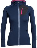 Icebreaker Quantum Full-Zip Hooded Jacket - Women's Admiral/Pop Pink/Pop Pink L