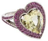 Mauboussin 18K Quartz,Topaz & Pink Sapphire Heart Ring