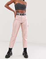 Asos Design DESIGN Florence authentic straight leg jeans in rose gold metalic pink