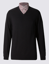 M&S Collection Pure Cotton Checked Mock Shirt Jumper