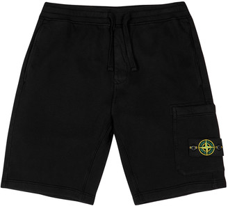 Stone Island Black cotton-jersey shorts