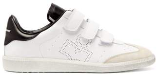 Isabel Marant Beth Perforated-logo Leather And Suede Trainers - Womens - White