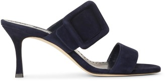 Manolo Blahnik Gable 70 navy suede sandals