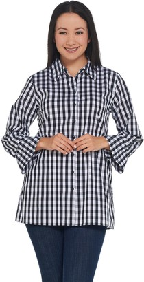 Joan Rivers Classics Collection Joan Rivers Lightweight Gingham Shirt with Bell Sleeves