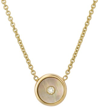 Mother of Pearl Mini Compass Necklace - Yellow Gold