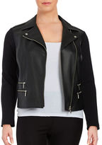MICHAEL Michael Kors Plus Mixed-Media Moto Jacket