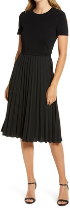 Rachel Parcell Pleated Mixed Media Dress