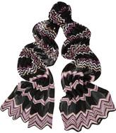 Missoni Metallic zigzag crochet-knit scarf
