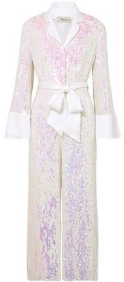 Temperley London Bia Belted Iridescent Sequined Georgette Jumpsuit