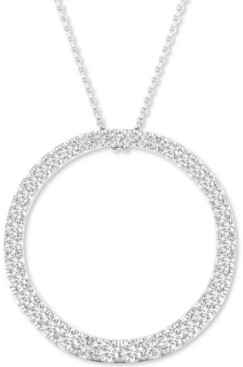 """Forever Grown Diamonds Lab-Created Diamond Circle Pendant Necklace (1/2 ct. t.w.) in Sterling Silver, 16"""" + 2"""" extender"""