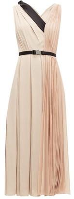 Prada Belted Pleated-twill Midi Dress - Womens - Light Pink