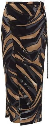 Lisa Marie Fernandez Adwoa Zebra-devore Crepe Wrap Skirt - Womens - Brown Print
