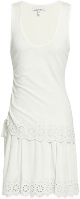 Derek Lam 10 Crosby Layered Broderie Anglaise-trimmed Stretch-jersey Mini Dress