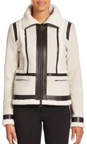 Vince Shearling & Leather-Trimmed Suede Moto Jacket