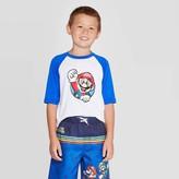 Nintendo Boys' Super Mario Print Rash Guard Swim Shirt - White/Bue