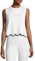 RED Valentino Sleeveless Scalloped Cotton Jersey Tee, White