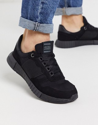 Jack and Jones runner sneakers with elasticated detail in black