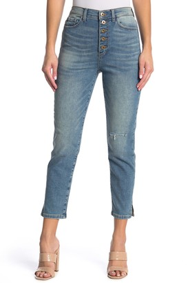 Sneak Peek Denim High Rise Button Fly Ankle Crop Tomboy Jeans
