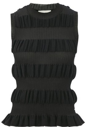 Molly Goddard Bella Striped Cotton-blend Sleeveless Sweater - Black
