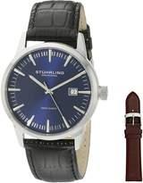 Stuhrling Original Men's 555A.04 Classic Ascot II Swiss Quartz Date Dial Strap Set Watch