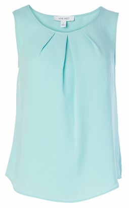 Nine West Women's Sleeveless U-Neck Pleat Center CAMI