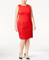 Calvin Klein Plus Size Lace-Inset Sheath Dress