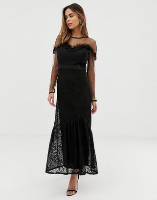 Liquorish maxi dress with lace overlay and ruffle detail-Black