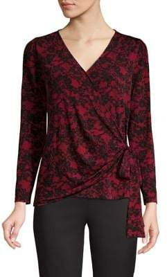 MICHAEL Michael Kors Embroidered Faux Wrap Top