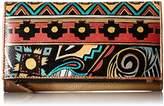 Anuschka Handpainted Leather Three Fold Clutch,Antique Aztec Wallet