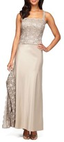 Alex Evenings Women's Sequin Lace & Satin Gown With Jacket