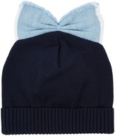 Federica Moretti Black Bow-embellished Cotton Beanie