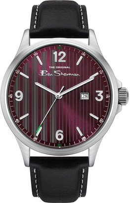 Ben Sherman Men's Textured Red Dial Leather Band Watch