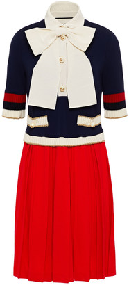Gucci Bow-embellished Pleated Stretch-knit Mini Dress