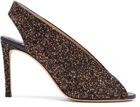 Jimmy Choo Shar 85 Peep Toe Glitter Leather Slingback Sandals - Womens - Brown Multi