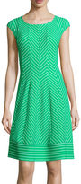Robbie Bee Cap-Sleeve Chevron Fit-and-Flare Dress