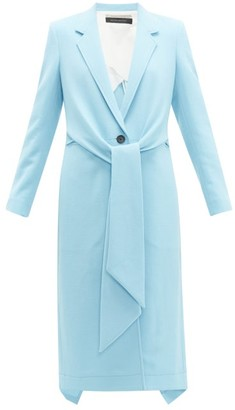 Roland Mouret Hollywell Tie-front Wool-crepe Coat - Womens - Light Blue