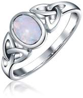 Bling Jewelry Engravable Celtic Moonstone Triquetra Knot Sterling Silver Ring