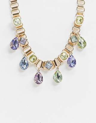ASOS DESIGN necklace with pearl and multicolour jewel drops in gold tone