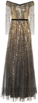 Marchesa Notte Off-the-shoulder sequined gown