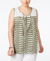 Style&Co. Style & Co. Plus Size Printed Sleeveless Peasant Top, Only at Macy's