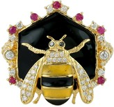 Artisan 18Kt Yellow Gold Cocktail Honey Bee Ring Daimond Ruby Gemstone Enamel Jewelry