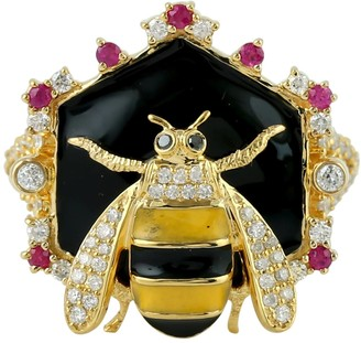 Artisan 18Kt Yellow Gold Cocktail Honey Bee Ring Daimond Ruby Gemstone Enamel Jewelry