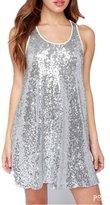 Z&L Fashion Z&L Women's Fashion Round Neck Sequined Tank Dress Party Dresses XXL