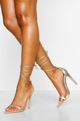 boohoo Pointed Toe Wrap Up Strap Two Parts