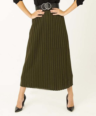 Simmly Women's Casual Skirts Khaki - Khaki Pleated Maxi Skirt - Women