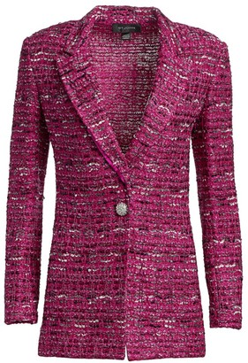 St. John Opulent Textured Tweed Knit Jacket