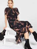Whistles Rose Paisley Leaf Dress - Black